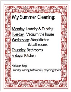 FREE summer cleaning schedule printable and ideas for a fun summer with your kids | OrganizingMadeFun.com