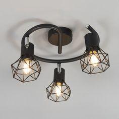 QAZQA Spot Mosh - Plafond spot - 3 light - Ø 430 mm - zwart Ceiling Spotlights, Led Ceiling Lights, Ceiling Light Fixtures, Ceiling Lamp, Home Office Lighting, Living Room Lighting, Spot Plafond, Ball Lights, Led Night Light