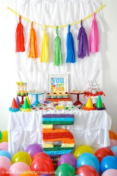 43 Ideas Birthday Party Decorations For Boys Streamers Rainbow Unicorn Party, Rainbow Birthday Party, Art Birthday, Unicorn Birthday Parties, Birthday Party Decorations, Rainbow Theme, Rainbow Stuff, Rainbow Art, Birthday Ideas
