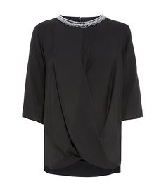 MICHAEL Michael Kors Black Embellished Crossover Silk Top | Harrods