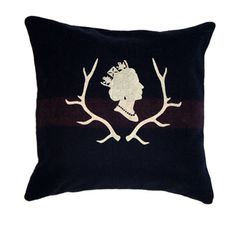 Identity Tees - Queen Elizabeth and Antler pillow. There's a pleasing simplicity to this one. I like the addition of the stag horns. My brother would love it (the horns, not so much the Queen). Very classic. Quilts Canada, Queen Birthday, True North, Save The Queen, Antlers, Furniture Decor, Vancouver, Identity, Moose Art