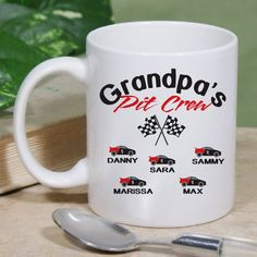 #NASCAR Pit Crew Personalized Ceramic Coffee Mugs. Not only will he get to enjoy his favorite drink from a unique mug, but he'll get to look at all his children displayed throughout such a wonderful gift idea. Whether it's grandpa, papa, dad or uncles that love racing, let them know how much they mean to you with a fun Pit Crew Mug like this. Our Personalized Pit Crew Mug is dishwasher safe & includes free personalization. We will personalize your