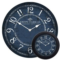A cute, charming deep blue clock with white accents. Looks great in just about any room in your home. This large wall clock is customizable and can be decorated with your company logo, family name, or even a saying. Or you can leave it as is. Many sizes to choose from, and frames can be added as well.