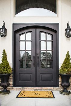 Have a peek at these individuals french doors modern Double Front Entry Doors, Front Door Entryway, Iron Front Door, Double Doors Exterior, House Front Door, Iron Doors, House Entrance, Privacy Glass Front Door, Traditional Front Doors