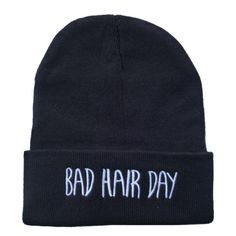 Bad Hair Day Beanie (2.020 RUB) ❤ liked on Polyvore featuring accessories, hats, beanies, hair accessories, black, black beanie, cotton beanie, cotton hat, black beanie hat and beanie hats
