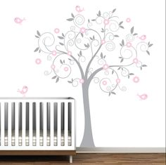 Grey and Pink Swirl Tree with Birds-Nursery Baby Wall Decal Vinyl