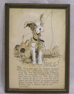 Vintage BUZZA Motto Print Happy Terrier Dog 1925 Title Smile Wilbur Nesbit