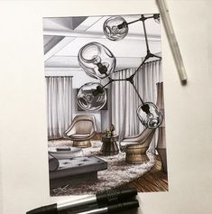 Interior sketches by Elena Ivannikova, the teacher in our school.
