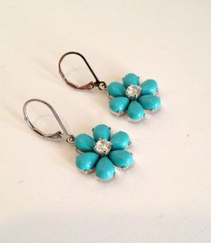 Vintage Sterling Silver Turquoise and Diamond by WOWTHATSBEAUTIFUL