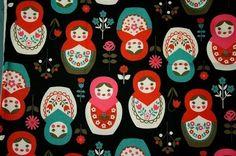 Big Matryoshka Russia Nesting Dolls Print Japanese Fabric Black. $15.98, via Etsy.