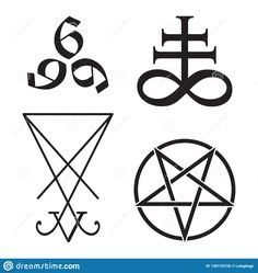 Set Of Occult Symbols Leviathan Cross, Pentagram, Lucifer Sigil And 666 The Number Of The Beast Hand Drawn Black And White Isolate Stock Vector - Illustration of beast, atheist: 130176726 Demon Symbols, Witch Symbols, Occult Symbols, Occult Art, Witchcraft Tattoos, Occult Tattoo, Wiccan Tattoos, Symbolic Tattoos, Satanic Cross