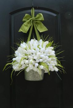 Spring Wreath - Custom Tulip Wreath - Personalized Wreath - Tulip Pail - Tulip Basket - Easter Wreat gifts for adults cheap Your place to buy and sell all things handmade Deco Floral, Arte Floral, Tulip Wreath, Floral Wreath, White Wreath, Tulip Bouquet, Wreaths For Front Door, Door Wreaths, Creation Deco