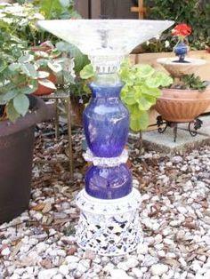 Upcycled solar powered garden fountain/ bird bath.....