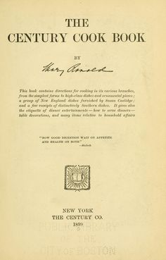 Century cook book - Wonderful site with old Cookbooks (Free-onine)