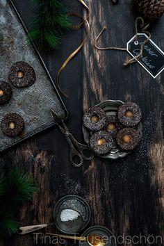 Chocolate Salted Caramel Linzer Cookies