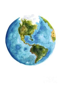 Planet Earth, South America Illustration, Watercolor World Map Painting by Joanna Szmerdt Watercolor World Map, World Map Painting, Planet Painting, Watercolor Paintings, Watercolor Illustration, Planet Drawing, Earth Drawings, Drawing Of Earth, Painted Earth