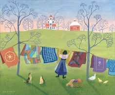"""Giclée Reproductions - Ellen Eilers - Painting & Mixed Media, """"Airing Auntie's Quilts"""" 550 Piece Puzzle by Ceaco"""