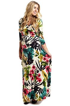 a48c74fad4d04 PinkBlush Maternity Ivory Tropic Floral 34 Sleeve Maxi Dress Small ***  Check out this