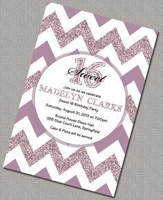 Items Similar To Sweet 16 Invitations Purple