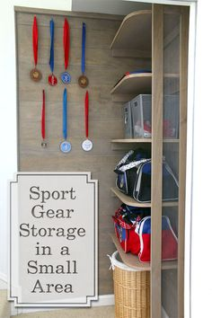 Build sports gear storage shelves in the small space at the bottom of your stairs. Added mesh siding gives a locker vibe and allows for better air flow.