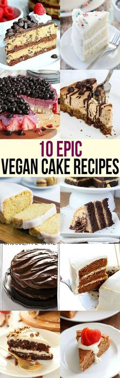 Everyone loves cake Bake one of these epic vegan cake recipes to impress even nonvegans at your next party Chocolate cheesecake strawberry much Vegan Treats, Vegan Foods, Vegan Dishes, Vegan Dessert Recipes, Dairy Free Recipes, Delicious Desserts, Gluten Free, Italian Desserts, Vegetarian Recipes