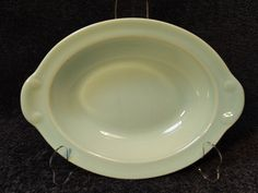 "Taylor Smith Taylor Luray Pastels Green Oval Serving Bowl 10 1/8"" EXCELLENT #TaylorSmithTaylor"