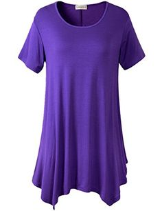Lanmo Womens Swing Tunic Tops Loose Fit Comfy Flattering T Shirt ** Learn more by visiting the image link.