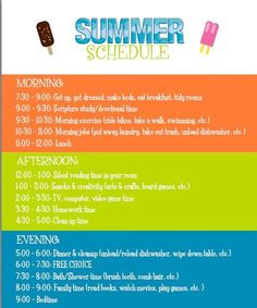 Keep your kids (and your sanity) in check this summer with a daily schedule. – MyWhys Keep your kids (and your sanity) in check this summer with a daily schedule. Keep your kids (and your sanity) in check this summer with a daily schedule. School's Out For Summer, Summer Kids, Summer Loving, Summer Work, Kids Summer Schedule, Chores For Kids, Summer School, High School, Summer Activities