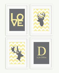 Digital Printable Files - Custom Chevron Deer Heads Love & Initial Baby Boy Nursery Artwork - Set of 4. $32.00, via Etsy.