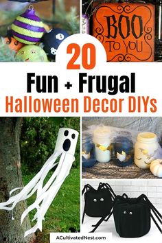 20 Budget-Friendly Halloween DIY Decorations- Get your home decorated for Halloween on a budget with these fun and frugal Halloween DIY decorations! There is so much spooky fun décor you can make! | #HalloweenDIY #diyProject #HalloweenCrafts #HalloweenDecorations #ACultivatedNest Diy Halloween Jars, Diy Halloween Apothecary Jars, Fun Halloween Treats, Halloween Banner, Outdoor Halloween, Diy Halloween Decorations, Pumpkin Table Decorations, Cheap Craft Supplies