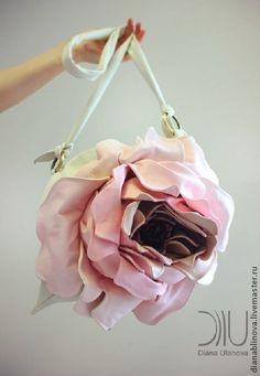 """Сумка кожаная """"Роза МАКСИ"""" лето - серебряный,белый жемчуг,розовый,сумка оригинальная"""