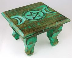 TRIPLE MOON CARVED WOODEN ALTAR  110 x 160 mm Wicca Pagan Witch Goth GODDESS