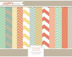 Chevron Stripes Summer Digital Papers Set. $5.00, via Etsy.