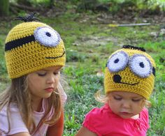 Minion Crochet Hat Despicable Me 2 movie, sizes Newborn, 3-6 m, 6-12m, 1-2T, 2t and up, and Adult, Halloween costume