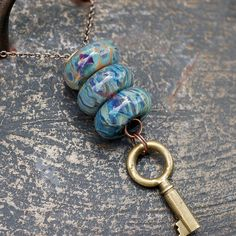 Skeleton Key Lampwork Glass Beaded Lariat Necklace Boro Tranquil by Venbead, via Flickr