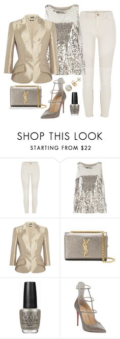"""Untitled #1699"" by dnicoleg ❤ liked on Polyvore featuring River Island, Dorothy Perkins, Alexander McQueen, Yves Saint Laurent, OPI and Christian Louboutin"