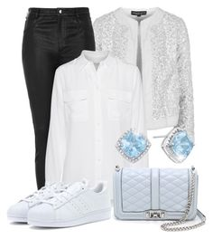 """""""Blue and Silver"""" by juliasab ❤ liked on Polyvore featuring moda, Topshop, Equipment, Rebecca Minkoff e adidas Originals"""