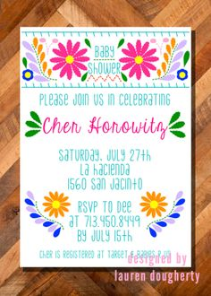 Mexican Flower Embroidery Dress Baby Or Wedding Shower Invitation Birthday Party Babyshower