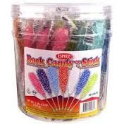 Rock candy on a stick assorted flavor, like cherry, grape, cotton candy, blue raspberry, watermelon, banana, orange, black cherry and more available at www.gigadoodles.com