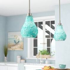 Beachcrest Home Ukee 1 - Light Single Bell Pendant Globe Pendant, Lantern Pendant, Mini Pendant, Island Pendant Lights, Pendant Lighting, Metal Vase, Curved Glass, Globe Lights, Floral Centerpieces