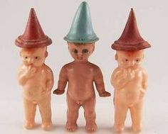 Three Little Squirts! Celluloide dolls. circa mid 20th century.