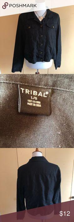 Tribal brand 100% linen black short jacket Tribal Sport 100% Linen black jean jacket style jacket ⭐️⭐️⭐️⭐️⭐️ Tribal Jackets & Coats