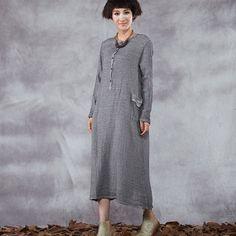 Women's retro style long sleeve loose pullover cotton linen dress