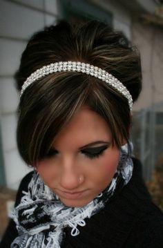 Rhinestone and Pearl Ribbon Headband   Wedding Headpiece, Ribbon, Crystal, Accessories, Pearl, Bridal, Wedding, Hair Accessory. $38.95, via Etsy.