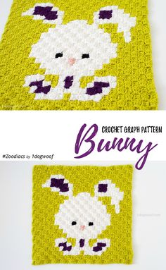 Zoodiacs bunny rabbit made using c2c crochet - make this cute square with Vanna's Choice! Free pattern by One Dog Woof!