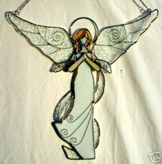 Clear Stained Glass Angel Suncatcher