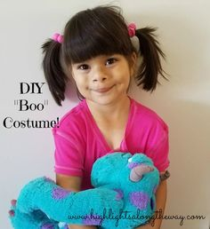 Boo from Monster's Inc is a simple DIY costume. Check out how we made this no sew costume from thrift store items. We are ready to trick or treat!