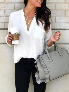 Fashion V Neck Chiffon Pure Colour T-Shirt - Frauenmode - Best Of Women Outfits Summer Work Outfits, Casual Work Outfits, Mode Outfits, Spring Outfits, Office Outfits, Stylish Outfits, Casual Clothes, Classy Outfits, Casual Office Attire
