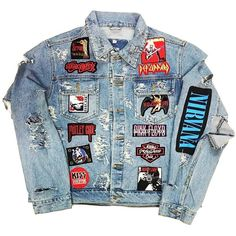 ROCK HARD VINTAGE 'HALL OF FAME' DENIM JACKET ($250) ❤ liked on Polyvore featuring outerwear, jackets, tops, jean jacket, rock jacket, denim jacket, vintage jackets and blue jean jacket