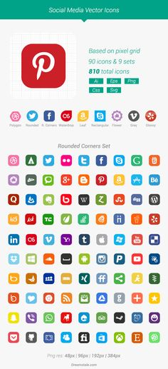 Download 90 free vector social media icons in 9 styles (total: 810 icons). Includes Ai, Eps, Svg, Css and transparent Png files. Free for personal and commercial projects.